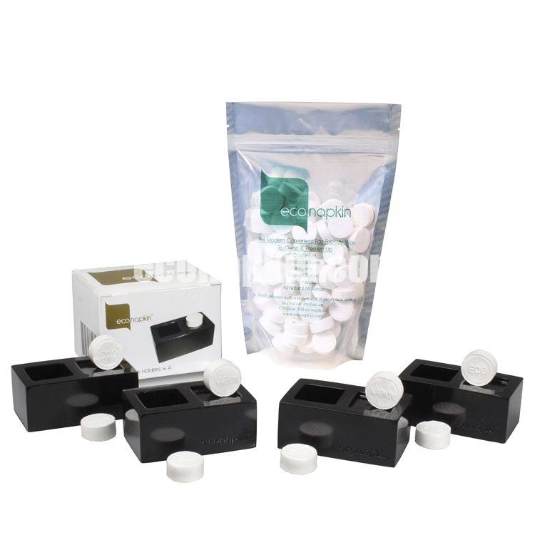 econapkin, compressed napkins, gloss black table presenters