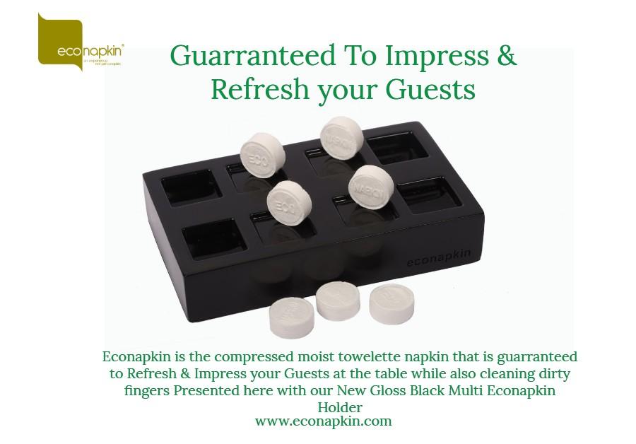 econapkin gloss black multi moist towelette holder